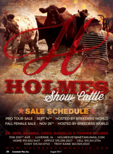 Holmes Show Cattle Pro Tour Sale @ Lu Verne | Iowa | United States