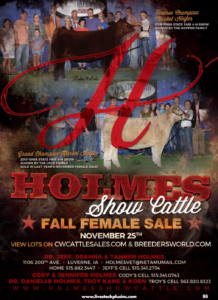 Holmes Show Cattle Fall Female Sale @ CW Cattle Sales/Breeders World