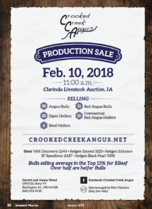 Crooked Creek Angus Production Sale @ Clarinda Livestock Auction | Clarinda | Iowa | United States