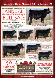 Cason's Pride & Joy Simmentals Annual Bull Sale @ Russell Livestock Market | Russell | Iowa | United States