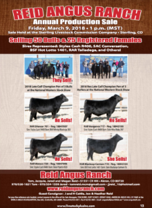 Reid Angus Ranch Annual Production Sale @ Sterling Livestock Commission Company | Sterling | Colorado | United States