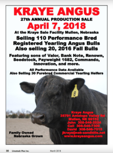 Kraye Angus Annual Production Sale @ Kraye Sale Facility  | Mullen | Nebraska | United States