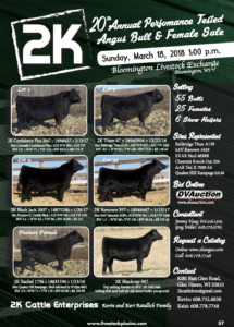 2K 20th Annual Performance Tested Angus Bull & Female Sale @ Bloomington Livestock Exchange | Bloomington | Wisconsin | United States