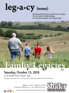Studer Shorthorns Family Legacies Sale @ Creston | Iowa | United States