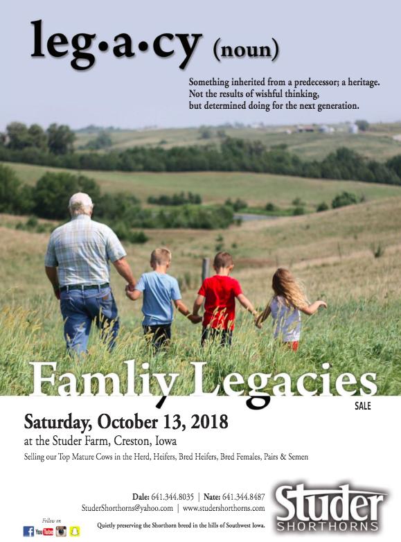 Studer Shorthorns Family Legacies Sale on 10/13/18